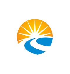 road sun shine logo vector image