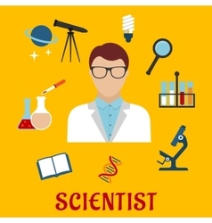 Scientist and laboratory equipment flat icons vector