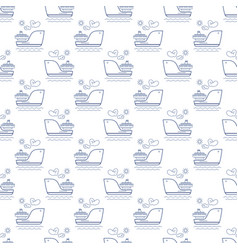 Seamless maritime pattern with ship line style vector