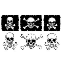set of skulls and crossbones vector image vector image