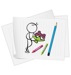 A paper with an image of a man holding a boquet of vector image vector image