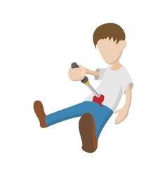 Man suiciding hisself icon cartoon style vector image