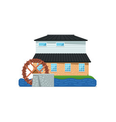 old water mill building isolated icon vector image