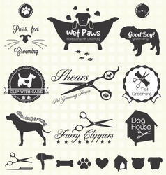 Pet Grooming Labels vector image vector image
