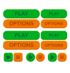 set game bright button options and play in green vector image vector image