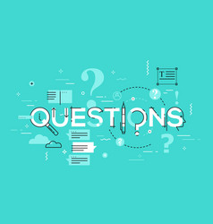 thin line design concept for questions website vector image vector image