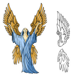 winged angel vector image vector image