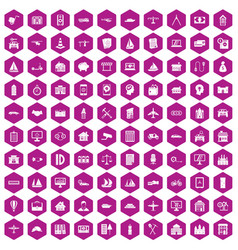 100 private property icons hexagon violet vector image