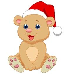 Cute baby bear cartoon sitting vector image vector image