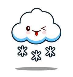 cute cloud snowflake kawaii face icon cartoon vector image vector image