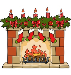 fireplace xmas vector image vector image