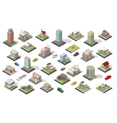 isometric city elements collection vector image vector image