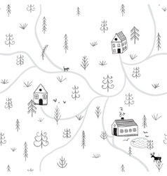 seamless pattern with forest houses vector image vector image