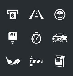set of toll road icons vector image vector image