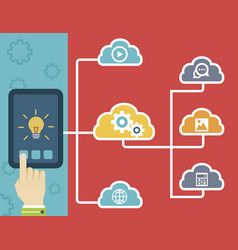 tablet and cloud technology vector image vector image