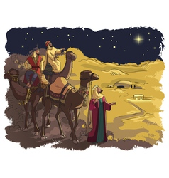 Three wise men following the star of bethlehem vector