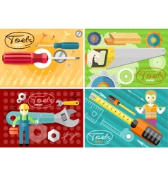 Turn-screw saw toolbox and wrench in hands vector image