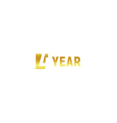 4 year happy birthday gold logo on white vector image