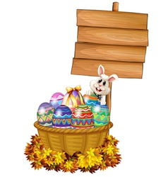 A bunny and a basket with eggs near a signage vector image