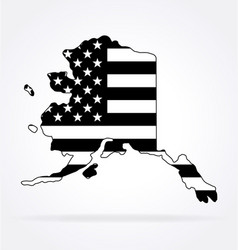 alaska ak map shape with usa flag black white vector image