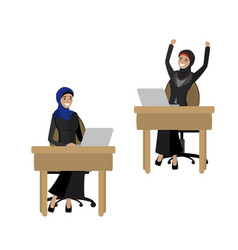 arabic business women working at a laptopisolated vector image