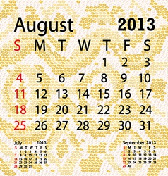 August 2013 calendar albino snake skin vector