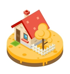 Autumn House Building Private Property Tree Icon vector image