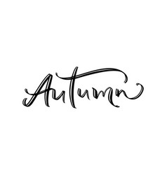 autumn wonderland text hand drawn brush lettering vector image
