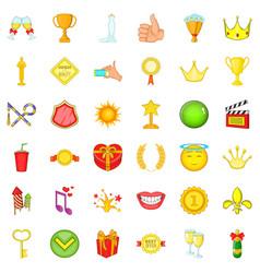 Award icons set cartoon style vector