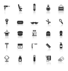 Barber icons with reflect on white background vector