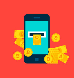 Bitcoin mobile concept vector