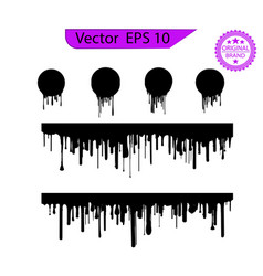 black dripping paint melting drip background vector image