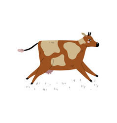 Brown spotted cow running dairy cattle animal vector