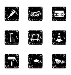 Building tools icons set grunge style vector
