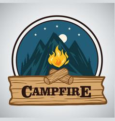 campfire mountain adventure retro logo vector image