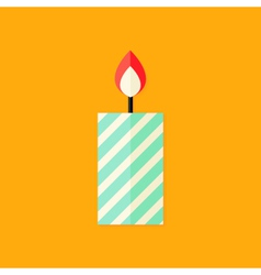 Candle with Fire Christmas Flat Icon vector