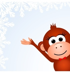 Christmas background card with monkey vector image