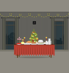 Christmas food on the table decorating with vector