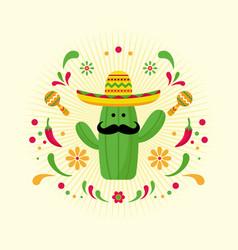 cinco de mayo concept cactus element background vector image
