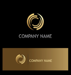 circle round abstract gold company logo vector image