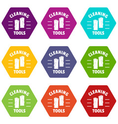 cleaning tools icons set 9 vector image