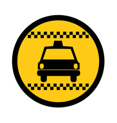 color circular emblem of taxi car vector image