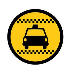 color circular emblem of taxi car vector image
