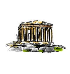 Colored hand sketch athenian acropolis vector