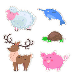 cute animals cartoon flat stickers set vector image