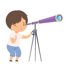 Cute boy watching through telescope kids hobor vector