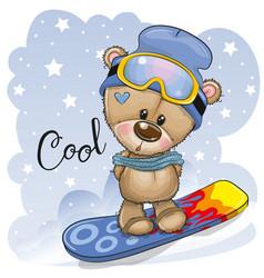 Cute cartoon bear on a snowboard vector