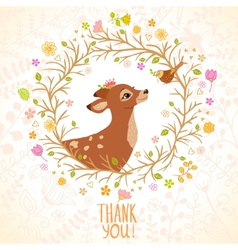 Deer and Bird vector image