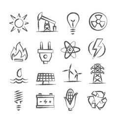 Energy doodle icons vector
