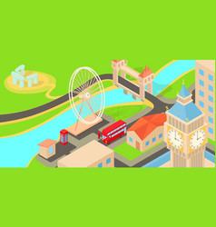 england travel horizontal banner cartoon style vector image